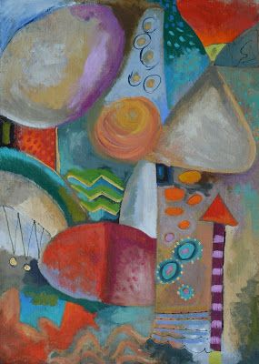 """Pondering Abstraction 1 and 2- 24""""x36"""" on unstretched canvas"""
