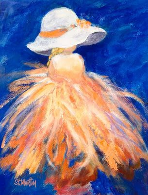 """Figurative Oil Painting, Child, Little Girl """"She's Got It"""" by Florida Impressionism Artist Annie St Martin"""