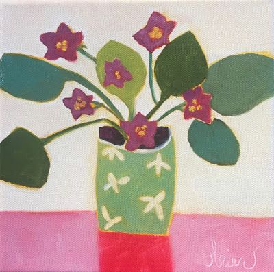 "Contemporary Abstract Still Life Floral FINE ART PRINT ""LITTLE VIOLETS 2"" by Santa Fe Artist Annie O'Brien Gonzales"