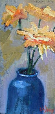 Flower Power!,Flower Painting, Floral Still Life Daily Painting, Small Oil Painting, 4x8x1.5