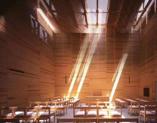 Sunlight Streams into a Windowless Church Made of Wooden Slats in Japan