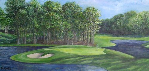 "Landscape Painting Golf Course ""THE 10TH AT MEADOWBROOK"" by Florida Impressionism Artist Annie St Martin"
