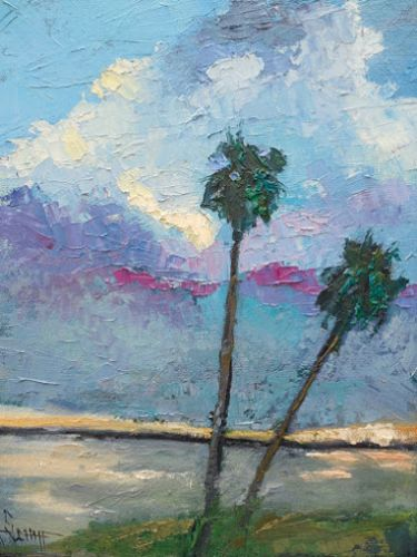 Tropical Landscape Palette Knife Painting with Texture, Coastal and Beach House Wall Decor, Florida Theme Artwork, Daily Painting, Small Oil Painting