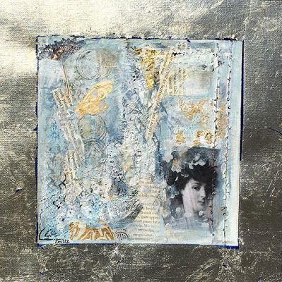 """Contemporary Art, Portrait Painting, Mixed Media, Collage, """"MYSTERIOUS MEMORIES"""" by Contemporary Expressionist Pamela Fowler Lordi"""