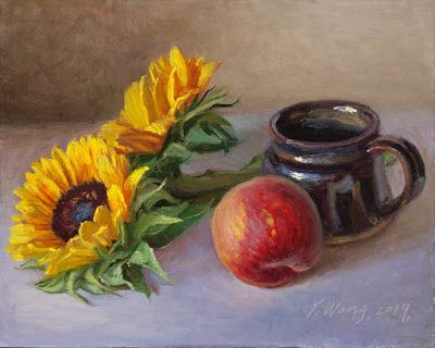 Sunflower and a peach, oil painting still life original