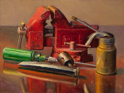 Still life with vise and chisel old tool painting realism