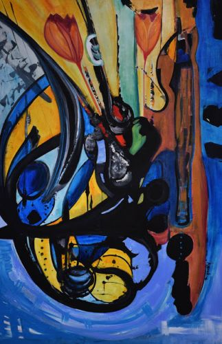 """Abstract Expressionism Art Painting """"The Dancer"""" by International Contemporary Abstract Artist Arrachme"""