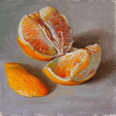 A peeled orange original oil painting small work of art a painting a day