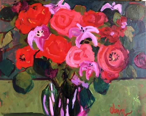 "Contemporary Expressionist Still Life Art,Bold Expressive Painting ""Evening Bouquet"" by Santa Fe Artist Annie O'Brien Gonzales"