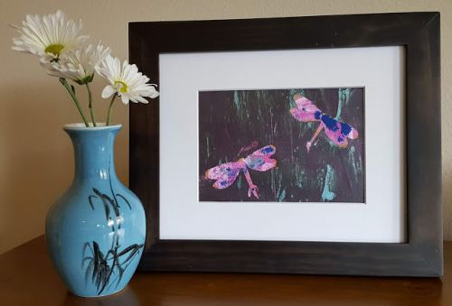 Pink Dragonflies Hand Print Acrylics by Denise Bossarte