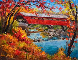 New Vermont Covered Bridge Commission by Contemporary Impressionist Niki Gulley