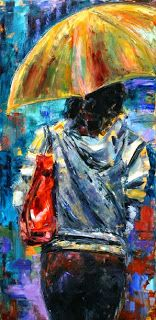 "Rainy City Painting, Abstract Cityscape, Figurative Umbrella ""Rainy Day People 3"" by Texas Artist Debra Hurd"