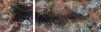 "Mixed Media Abstract Painting, Space ""IN THE SHADOW OF THE GALAXY"" by Santa Fe Contemporary Artist Sandra Duran Wilson"