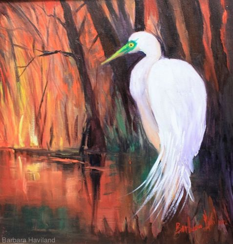 Sunset and Egret,wildlife,oils,canvas panel,Barbara Haviland
