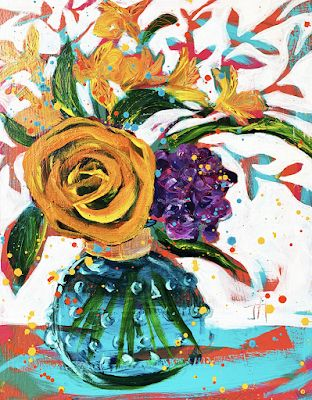 "Expressive Still Life Floral Painting, Flower Art, ""YELLOW ROSE OF TEXAS "" by Texas Contemporary Texas Artist Jill Haglund"