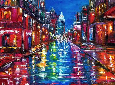 "Abstract Cityscape Fine art Print, Rainy City, New Orleans, Bourbon Street ""All Night Long"" by Texas Artist Debra Hurd"