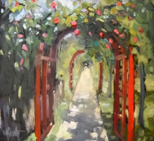 Garden Path Painting, Giclee Print, Daily Painting, Small Oil Painting