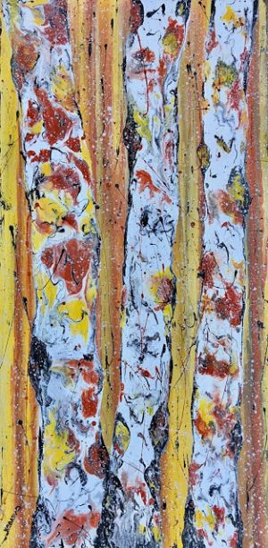 "Aspen Tree Painting,BirchTrees, Abstract Aspens,Autumn Landscape ""Autumn Flurries"" by Colorado Contemporary Landscape Artist Kimberly Conrad"