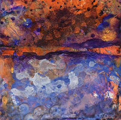 "Mixed Media Abstract Painting, Contemporary Art ""Fantasy Sunset"" by Santa Fe Contemporary Artist Sandra Duran Wilson"