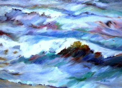 """Contemporary Seascape Painting """"Waved"""" by Georgia Artist Pat Warren"""