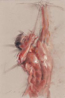 """Aiming high"" male nude figure in motion"