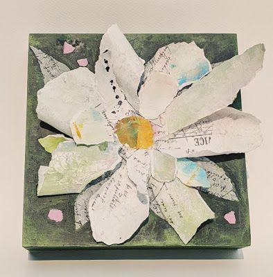"SUMMER SALE, Floral Paper Sculpture, Collage ""PAPER MAGNOLIA SCULPTURE"