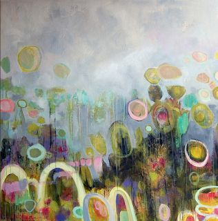"Contemporary Abstract Mixed Media Painting ""TULIPMANIA 3""-by Santa Fe Artist Annie O'Brien Gonzales"