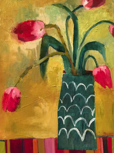 "Contemporary Abstract Bold Expressive Still Life Flower Fine Art Print ""Santa Fe Tulips"" by Santa Fe Artist Annie O'Brien Gonzales"