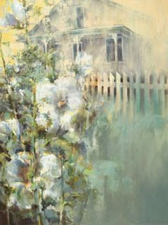 """Contemporary Botanical Landscape Abstract Painting """"ENVELOPED BY MEMORY"""" by Intuitive Artist Joan Fullerton"""