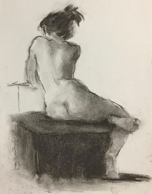 Connie Chadwell's Nude on Grey 3 - original charcoal drawing of a nude model