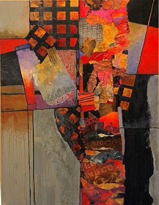 "Mixed media abstract collage, ""Billboard 6"" © Carol Nelson Fine Art"