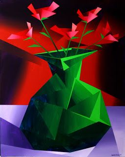Mark Webster - Abstract Red Roses in Green Vase Prism Acrylic Painting