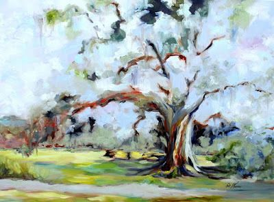 "Georgia Landscape Painting ""WATER OAK CELEBRITY"" by Georgia Artist Pat Warren"