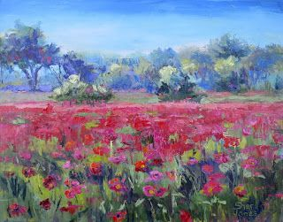 Contemporary Impressionistic Landscape Floral Palette Knife Original Oil Painting by Sheri Jones