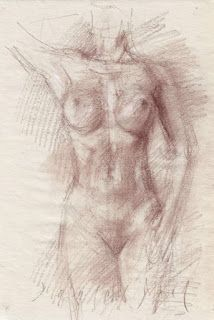 Standing nude female frontal view