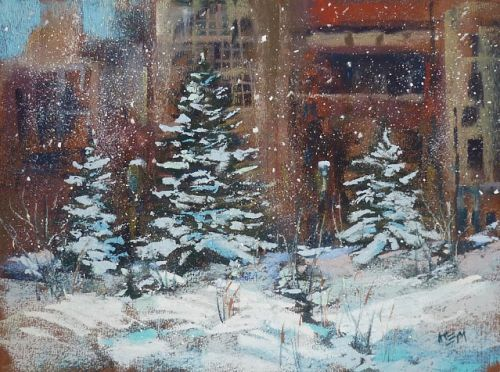 Which Comes First? Buildings or Snow? Painting a Winter Cityscape