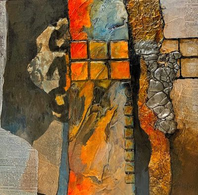 """Abstract Painting, Mixed Media """"Squared Away"""" by Colorado Mixed Media Artist Carol Nelson"""
