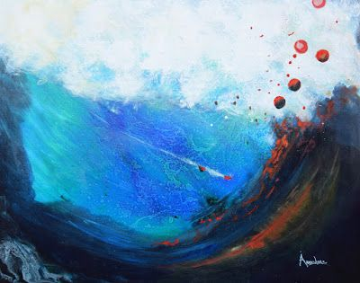 "Contemporary Abstract Expressionist Painting,Environmental Art ""After the Tsunami"" by Contemporary International Abstract Artist Arrachme"