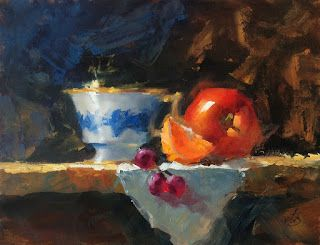 STILL LIFE by TOM BROWN, 9x12 OIL ON BOARD