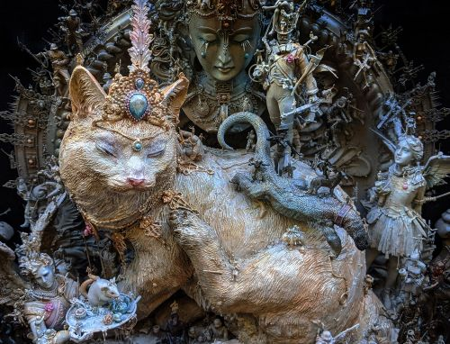 A Tyrannical Tabby Rules an Opulent Assemblage of Densely Layered Scenes by Artist Kris Kuksi