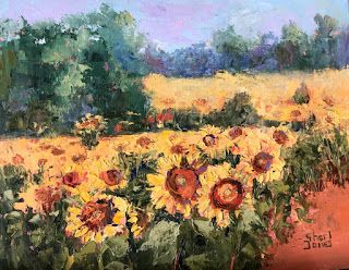 Impressionistic Floral and Landscape Palette Knife Oil Painting by Contemporary Artist Sheri Jones