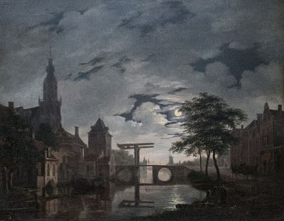 Bartholomeus Johannes van Hove, Dutch Town by Moonlight