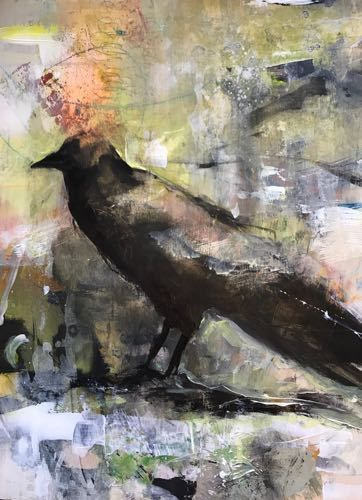 "Raven, Contemporary Bird Art Painting,""Messenger"" by Intuitive Artist Joan Fullerton"