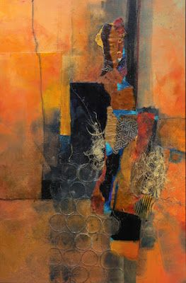 "Abstract collage painting, ""Sunny Mindset"", © Carol Nelson Fine Art"