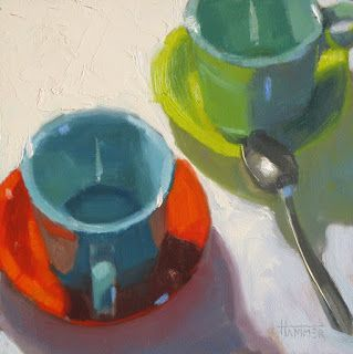 Coffee with Friends 6in x 6in oil on panel