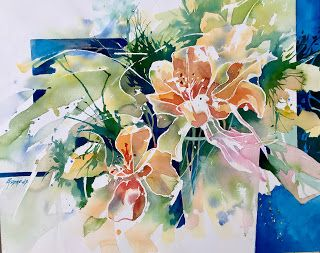 Delightful Dance..Watercolor..Texas Artist.Rae Andrews