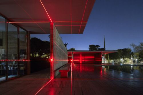 Barcelona Pavilion Transformed into Grid of Lasers by Luftwerk & Iker Gil