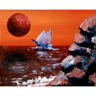 Mark Webster - Sailing off the Edge of Planet X - Abstract Acrylic Painting