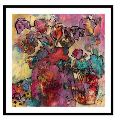 "Contemporary Still Life Floral Fine Art Print ""Springtime Symbols In Purple"" By Passionate Purposeful Painter Holly Hunter Berry"