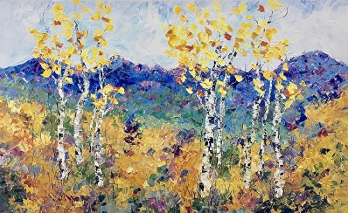 """Palette Knife Aspen , Colorado Landscape Painting """"Summer in the Rockies"""" by Colorado Impressionist Judith Babcock"""